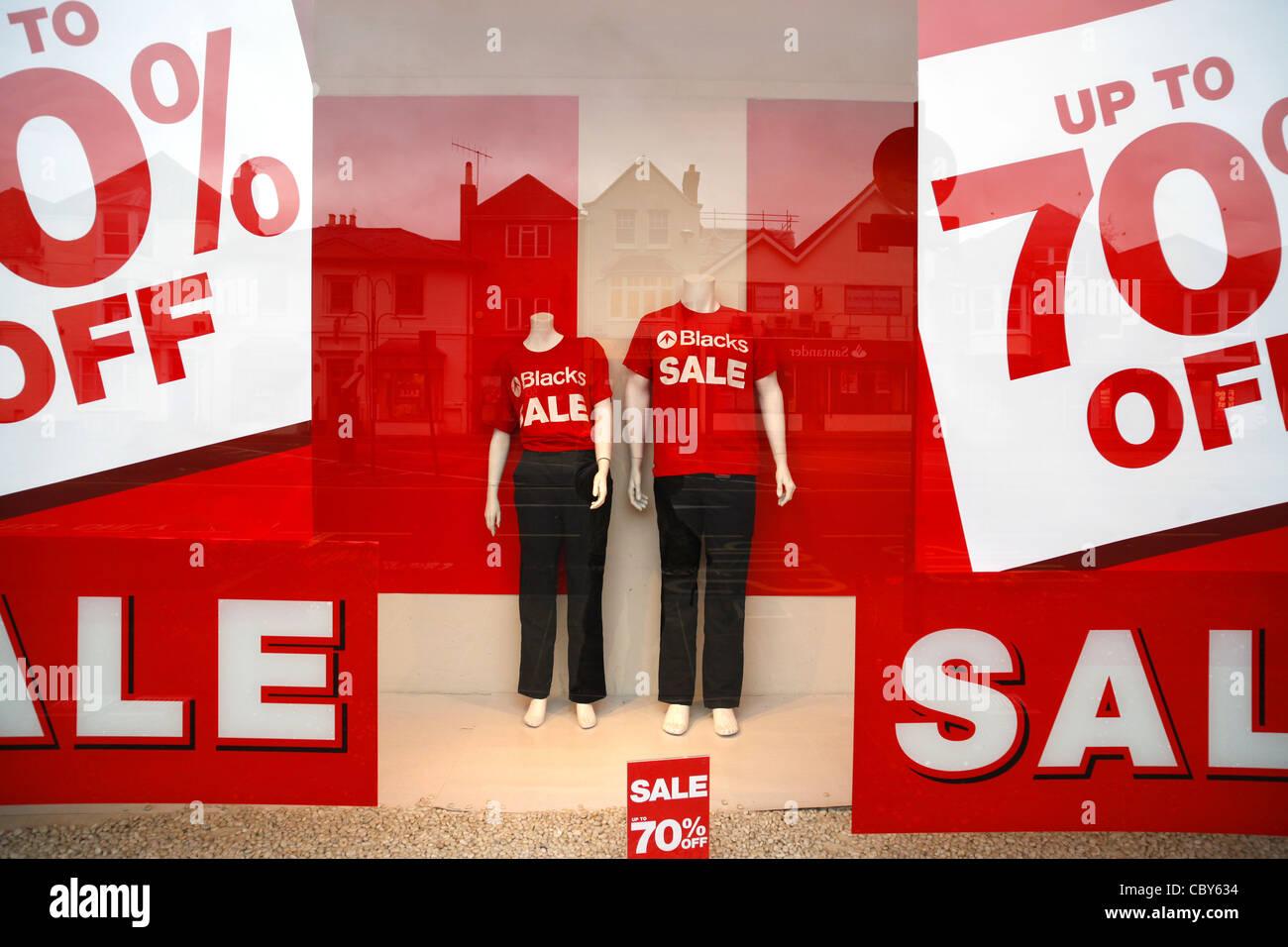 El Boxing Day venta de carteles en un escaparate negros Imagen De Stock