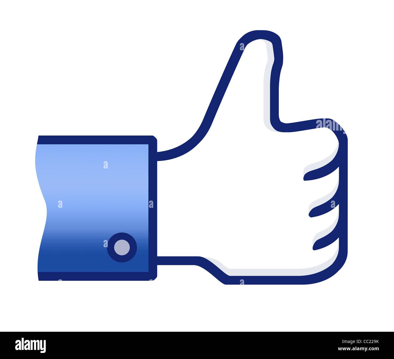 Ilustración de facebook el pulgar arriba signo de mano. Aislado en blanco. Imagen De Stock