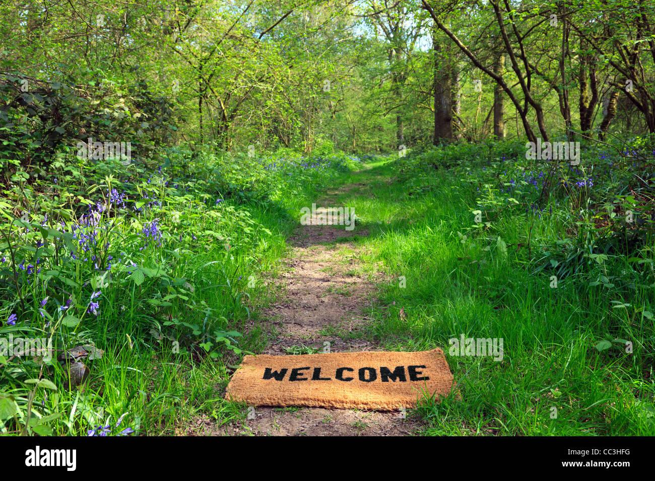 Concepto foto de un felpudo de bienvenida en un sendero del bosque durante la primavera en formato horizontal. Imagen De Stock