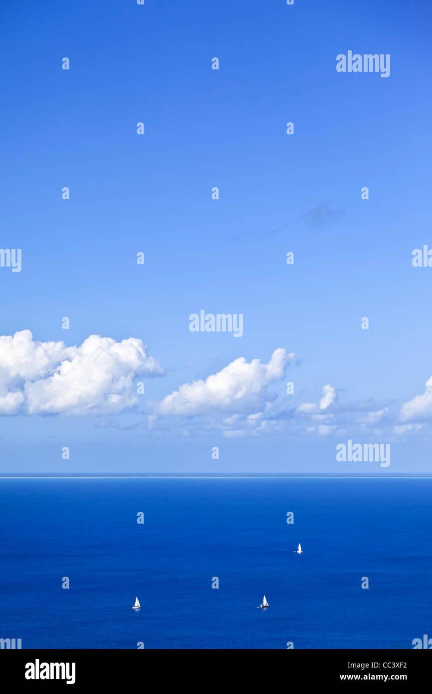 Caribe, Islas Vírgenes Británicas, Virgen Gorda, Gorda Peak National Park, ver el atolón de Anegada Imagen De Stock