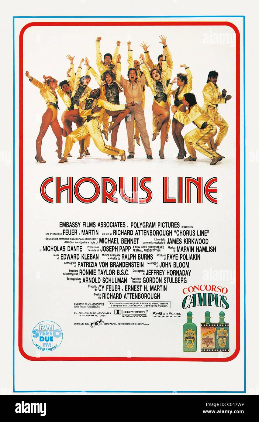Manifesto, del cine, del siglo XX. Chorus Line, 1985. Dirigida por Richard Attenborough. Imagen De Stock