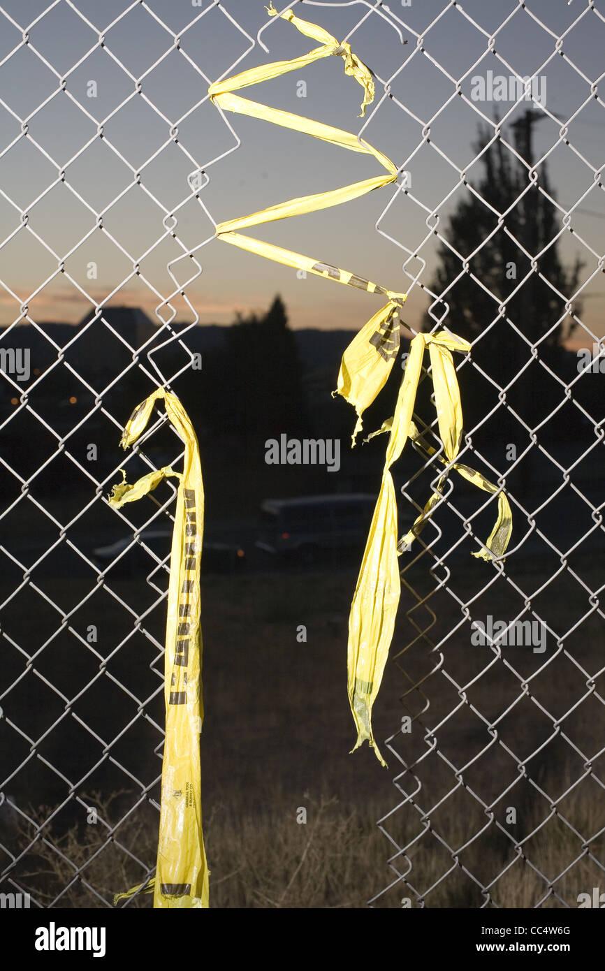 Agujero en el eslabón de la cadena cerco Imagen De Stock