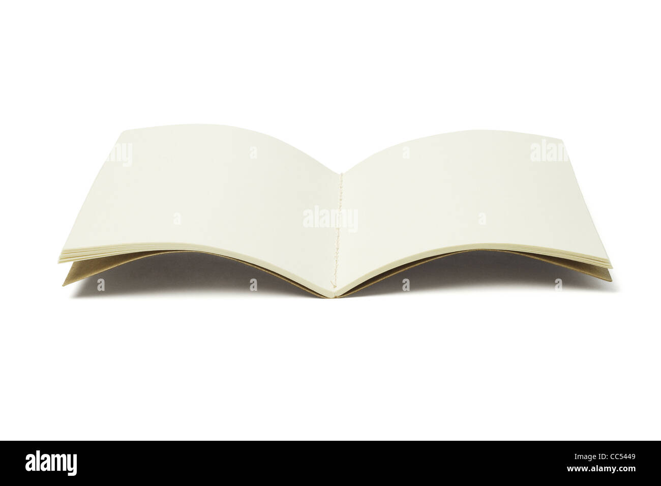 Abrir hilo coser Libro blanco sobre fondo blanco. Imagen De Stock