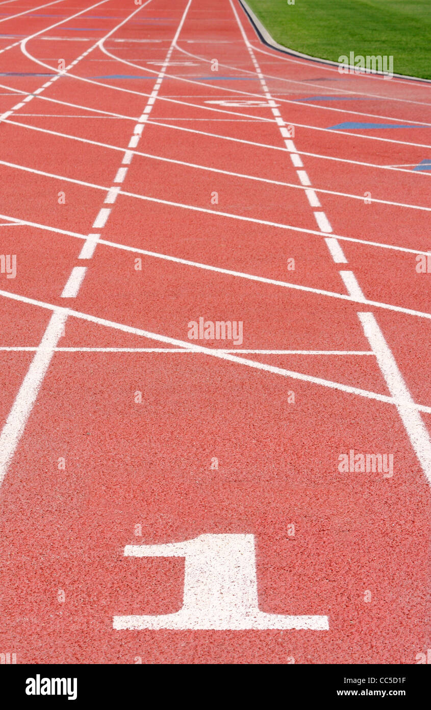 Lane 1 sobre una pista de atletismo, EE.UU. Imagen De Stock