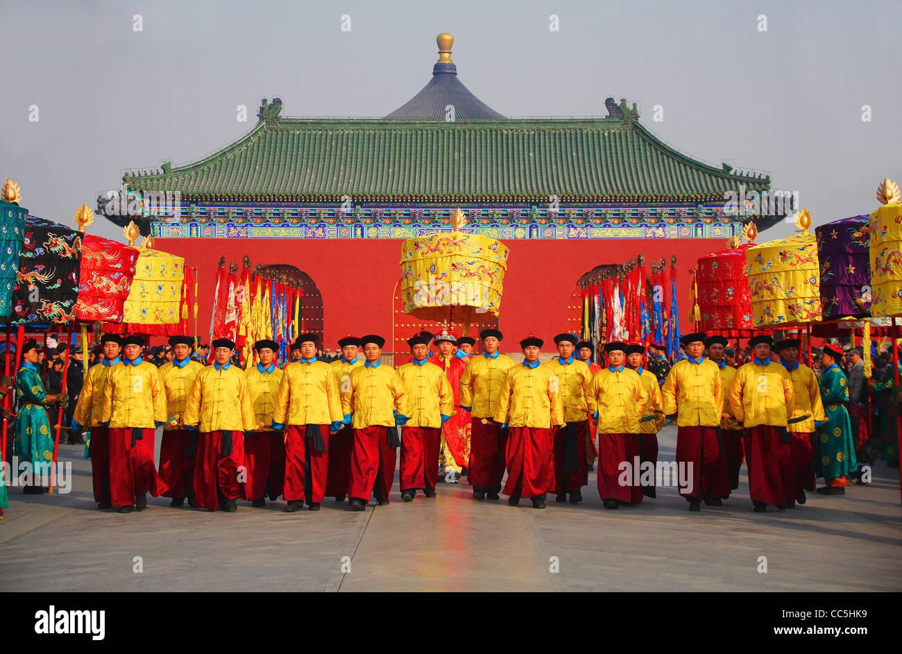 Venerar el cielo ceremonia en el Templo del Cielo, Pekín, China Imagen De Stock