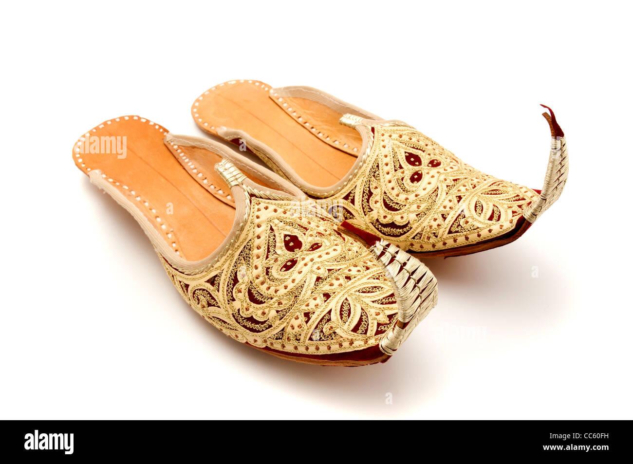 Rizado árabe tradicional vetado zapatillas Imagen De Stock