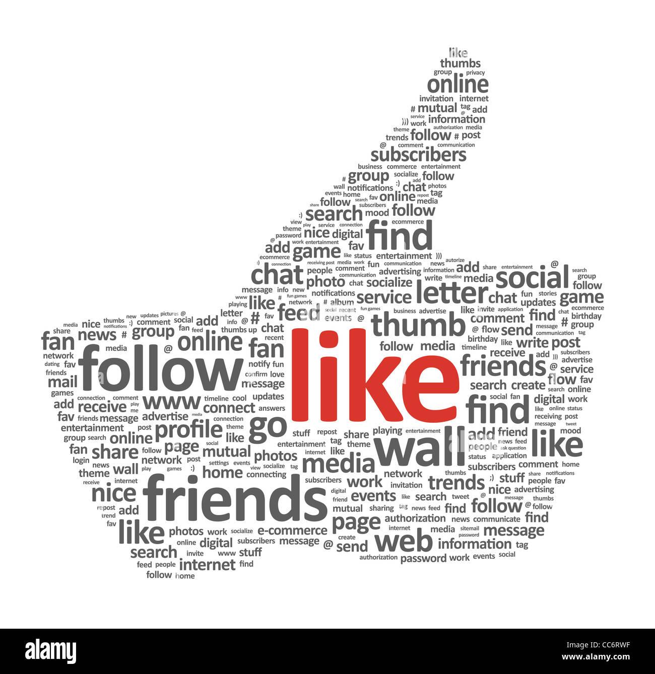 Ilustración del dedo pulgar hacia arriba el símbolo, que se compone de palabras sobre temas de medios sociales. Aislado en blanco. Foto de stock