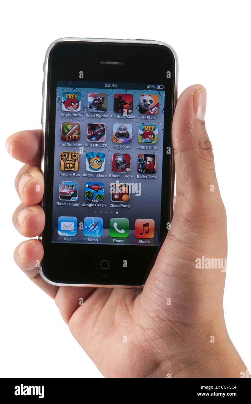 Los iconos en el menú Juegos iphone, cuarteado sobre fondo blanco. Imagen De Stock