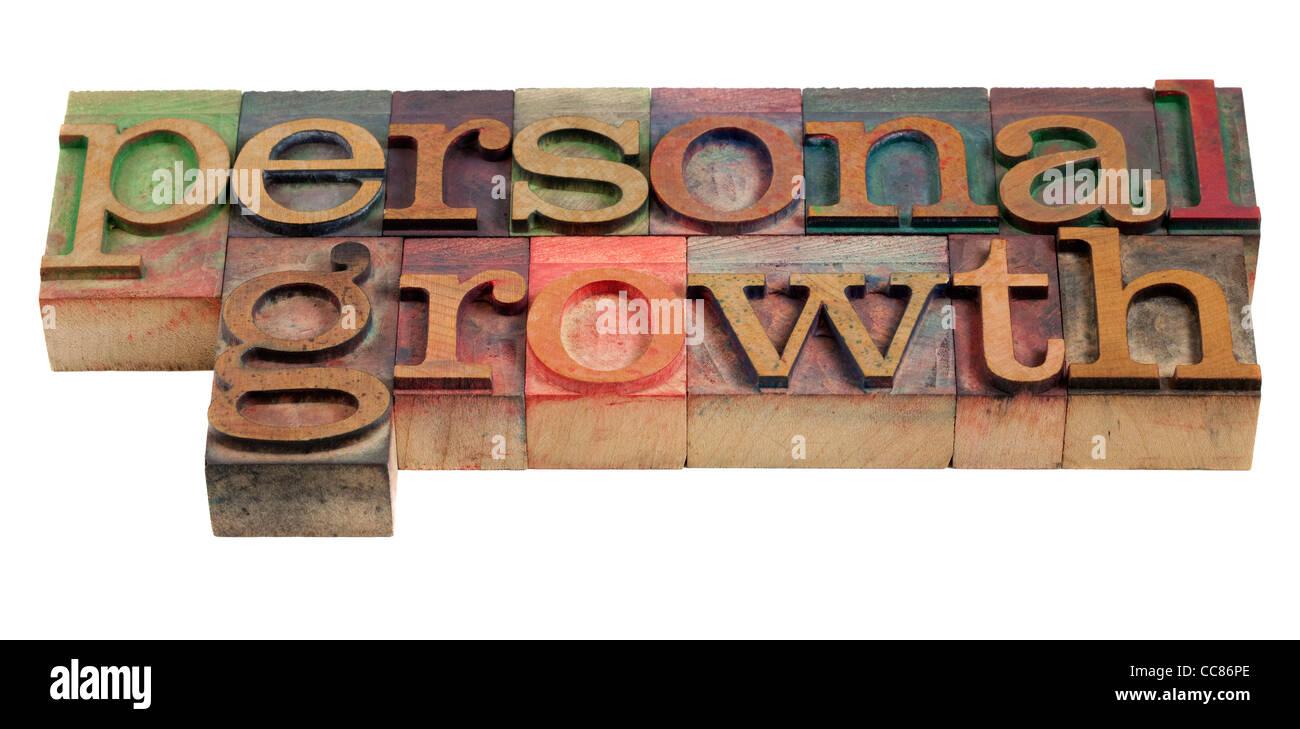 Crecimiento personal - palabras en bloques de madera vintage tipografía Imagen De Stock