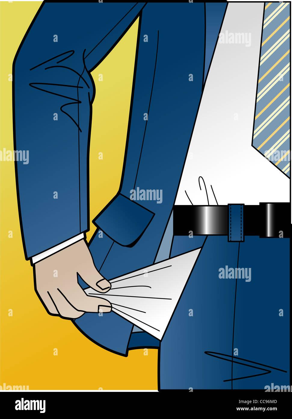 Un hombre de negocios vaciando sus bolsillos Imagen De Stock
