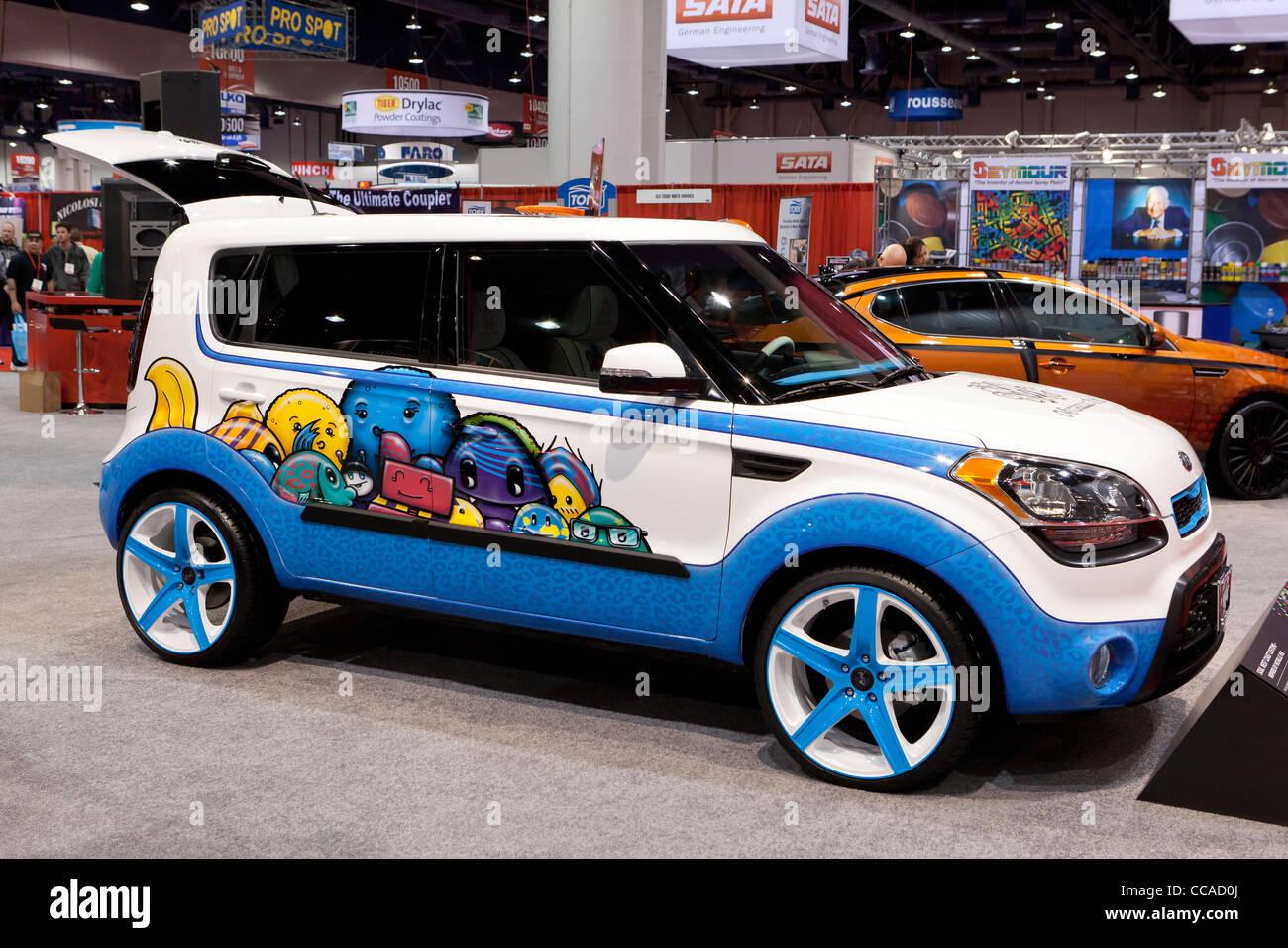 """Hoyo en Uno"" - Kia Soul Kia concept car inspirado por Michelle Wie Imagen De Stock"