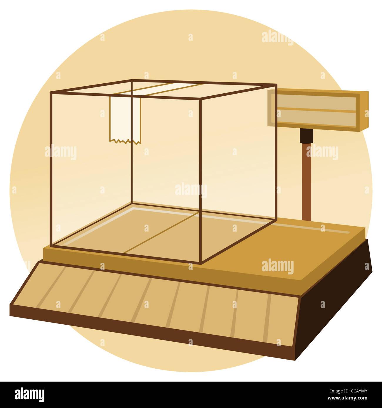 - Ilustración de básculas de pesaje electrónico de máquina en color marrón. Imagen De Stock