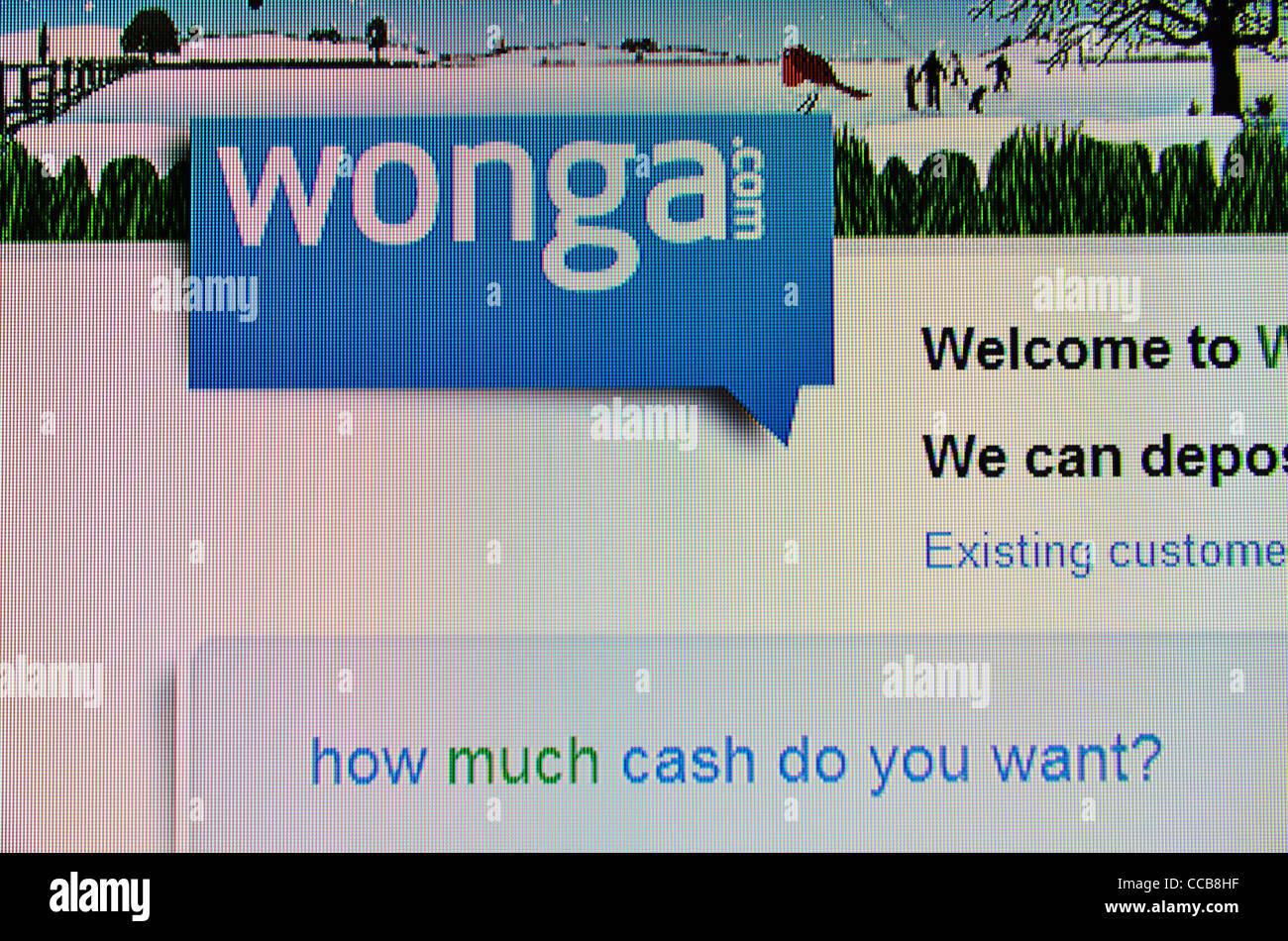 Préstamos en efectivo instantánea Wonga.com sitio web Imagen De Stock