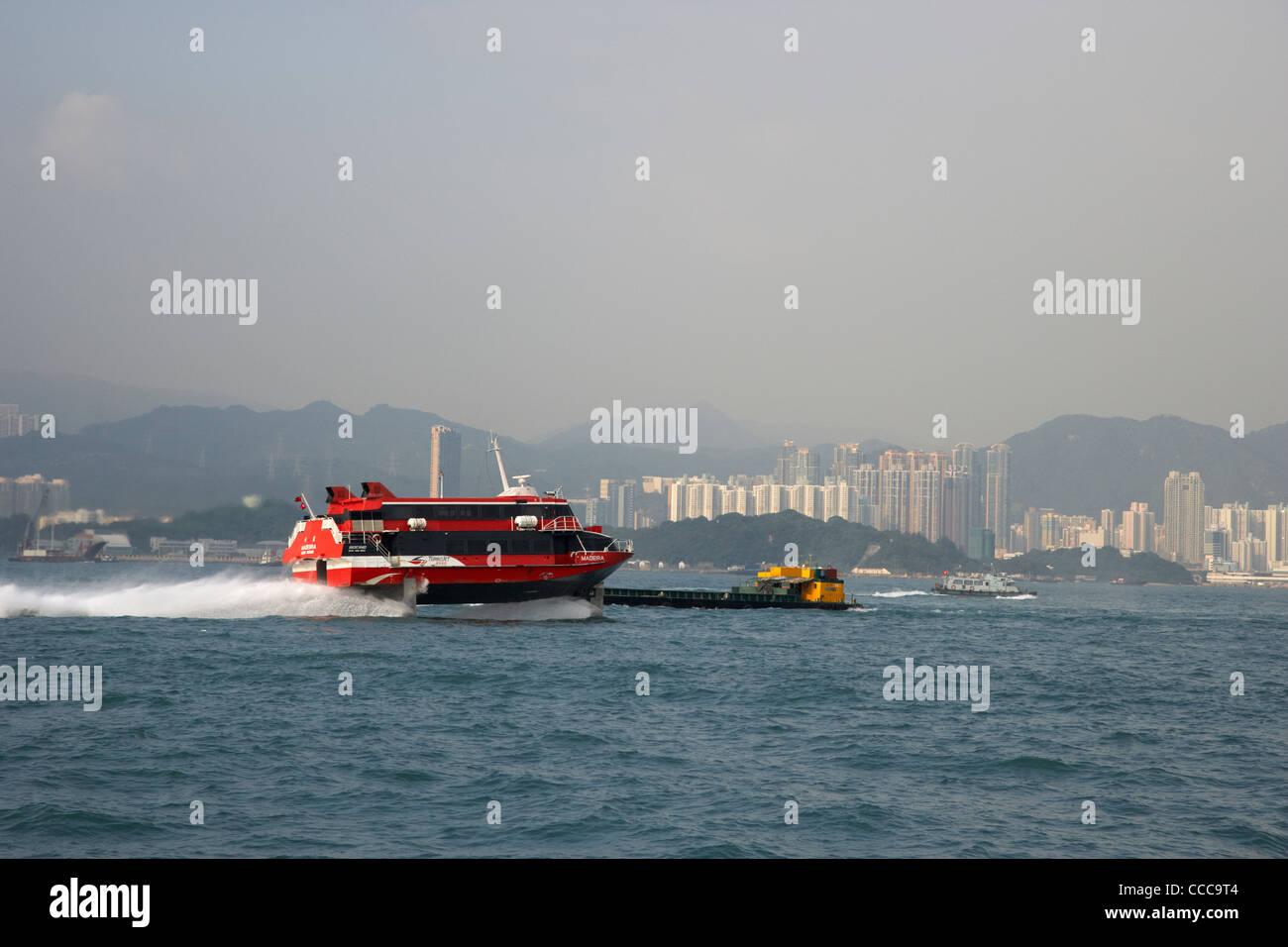 Madeira hydrofoil Ferry Macao cruza belchers bay en puerto Victoria de Hong Kong RAE china asia Imagen De Stock
