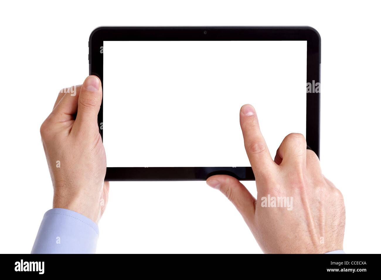 Celebración y tocando la tableta digital Imagen De Stock