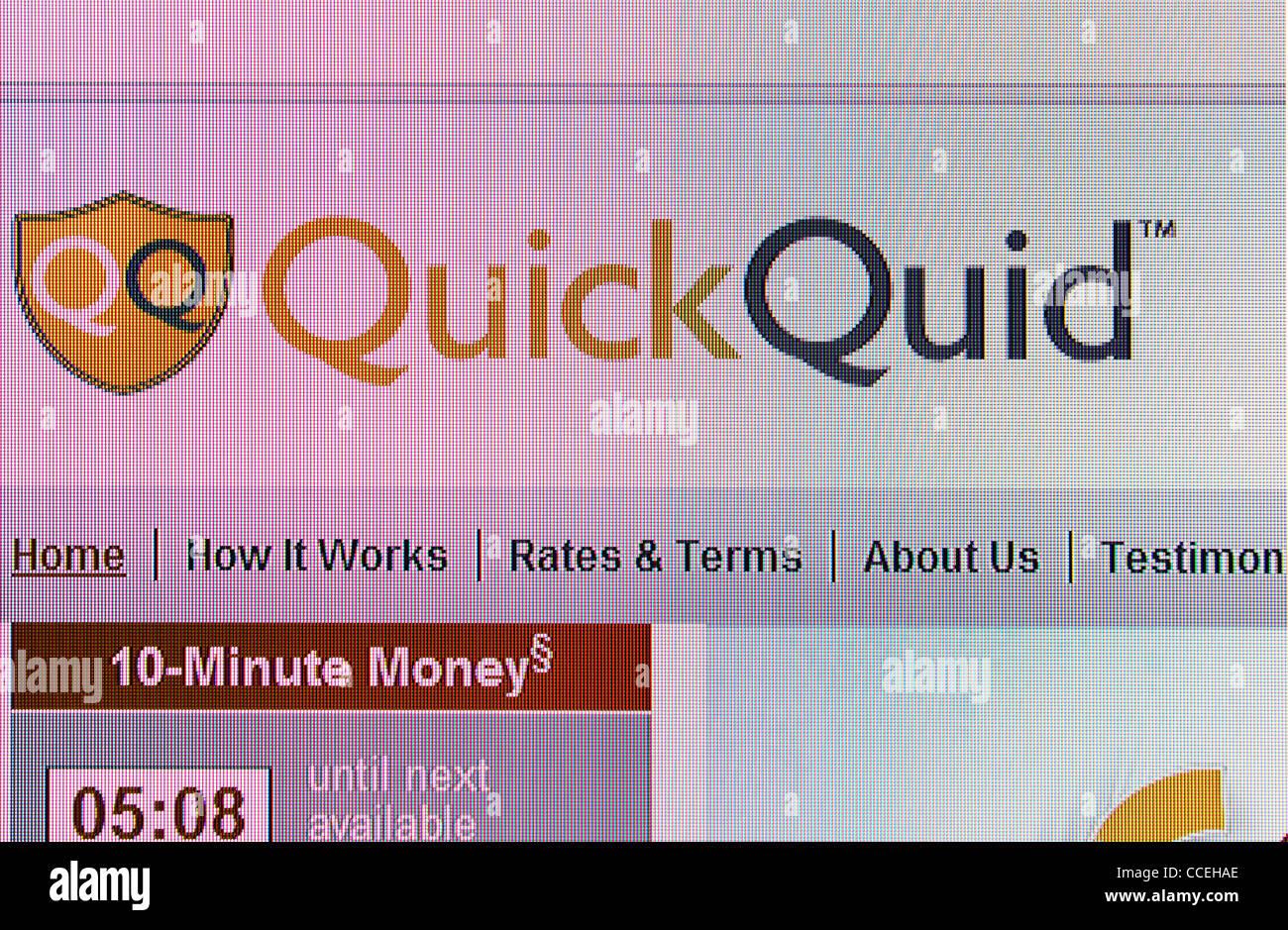 Quid rápido préstamos en efectivo sitio web de la empresa Imagen De Stock