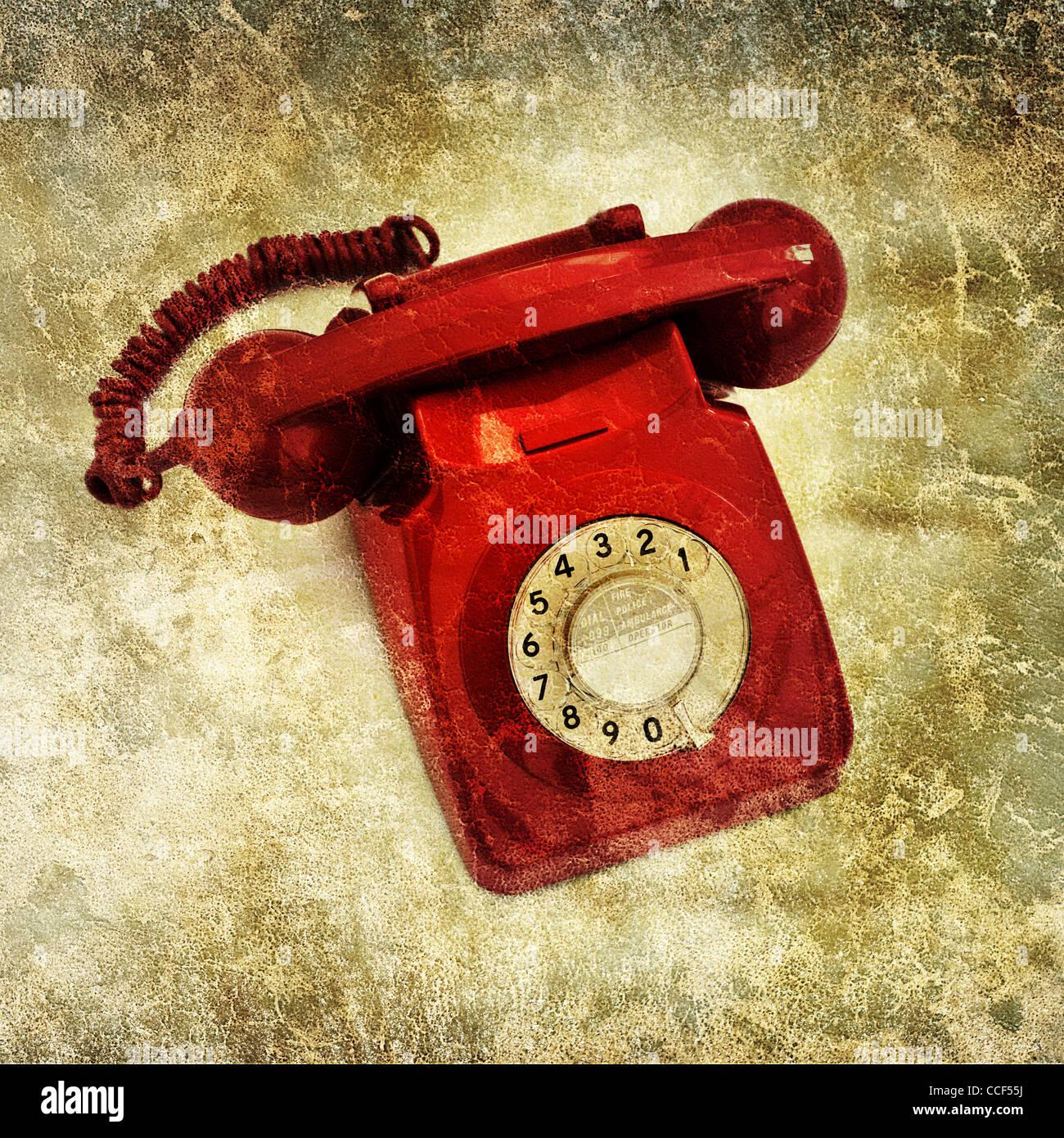 Teléfono Rojo Retro Imagen De Stock