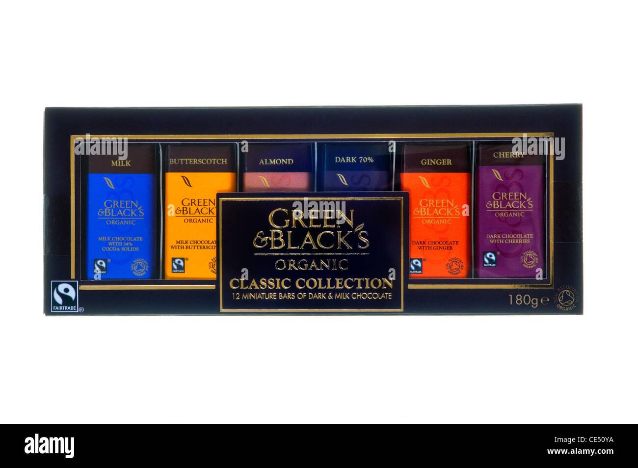 Verde y negro el surtido de chocolate orgánico Imagen De Stock