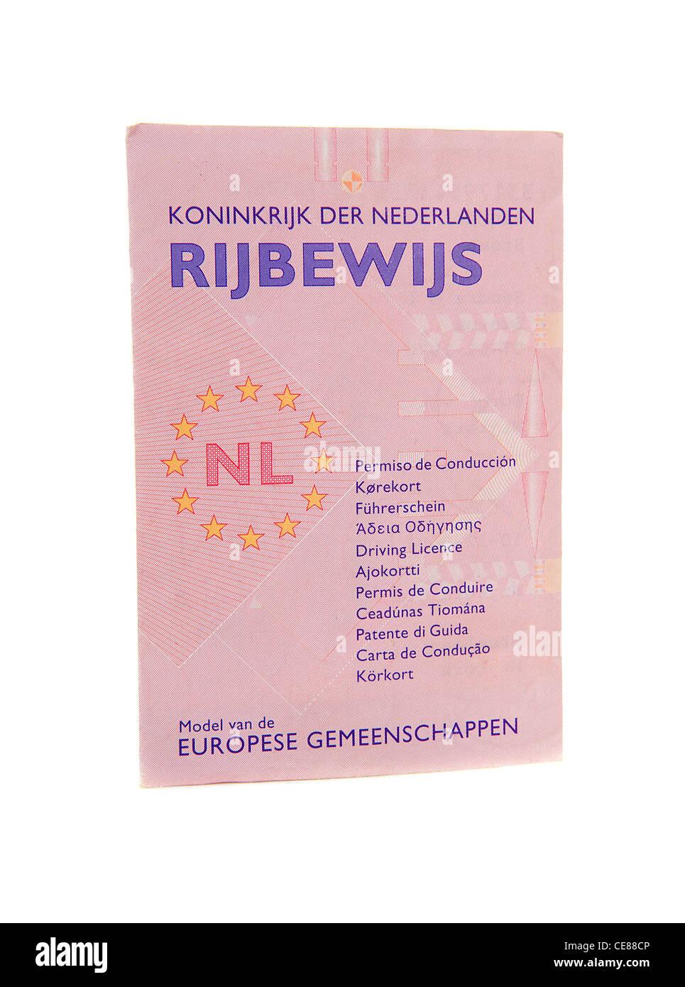 Licencia de conductores holandeses aislado sobre fondo blanco. Imagen De Stock