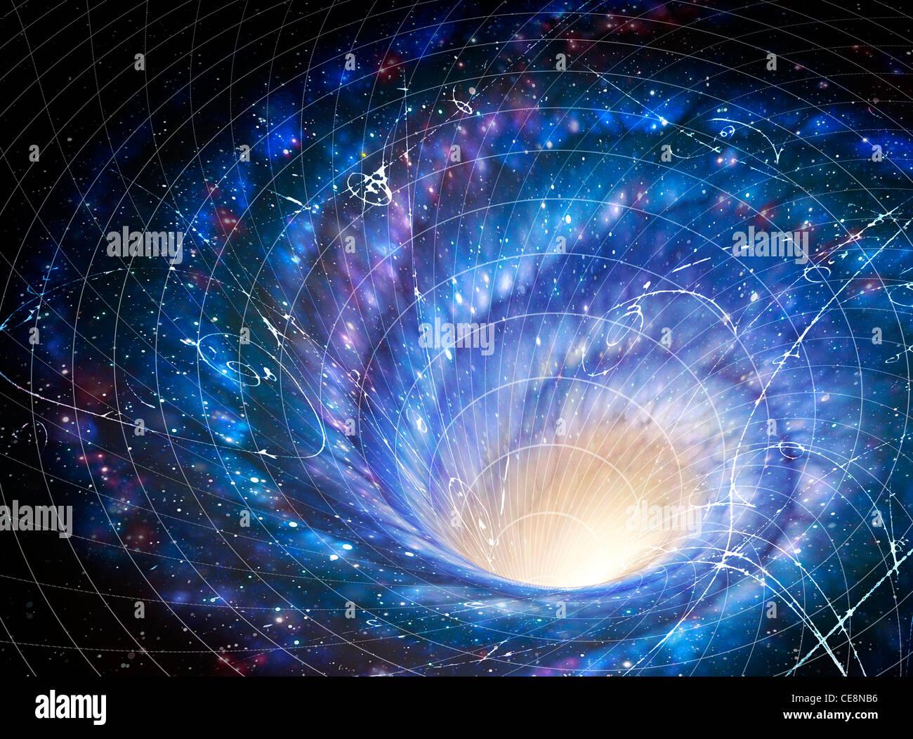 Ilustración que muestra la galaxia remolino gigante en el espacio del efecto de la galaxia en el espacio imagen Imagen De Stock
