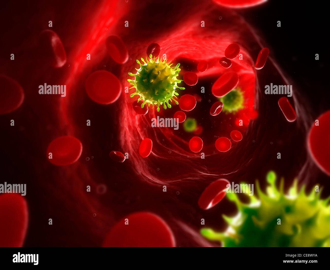 Infección viral, equipo conceptual ilustraciones. Las partículas del virus en el torrente sanguíneo. Imagen De Stock