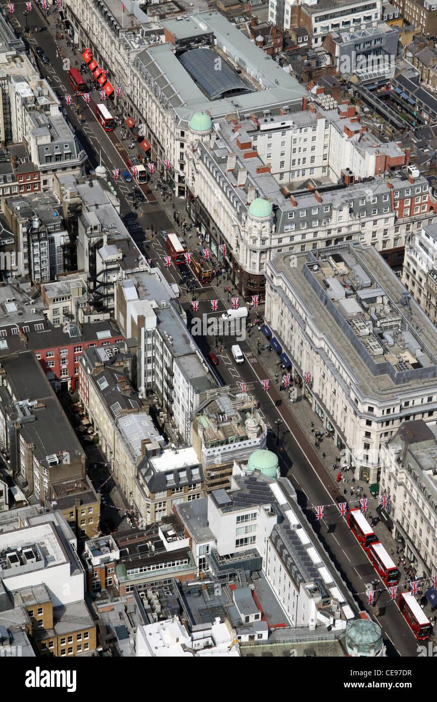 Imagen aérea, vista desde el aire, Oxford Street, London W1 Imagen De Stock