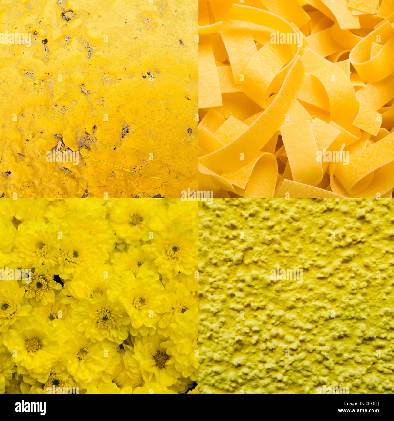 Collage de amarillo fondos de textura abstracta Foto de stock