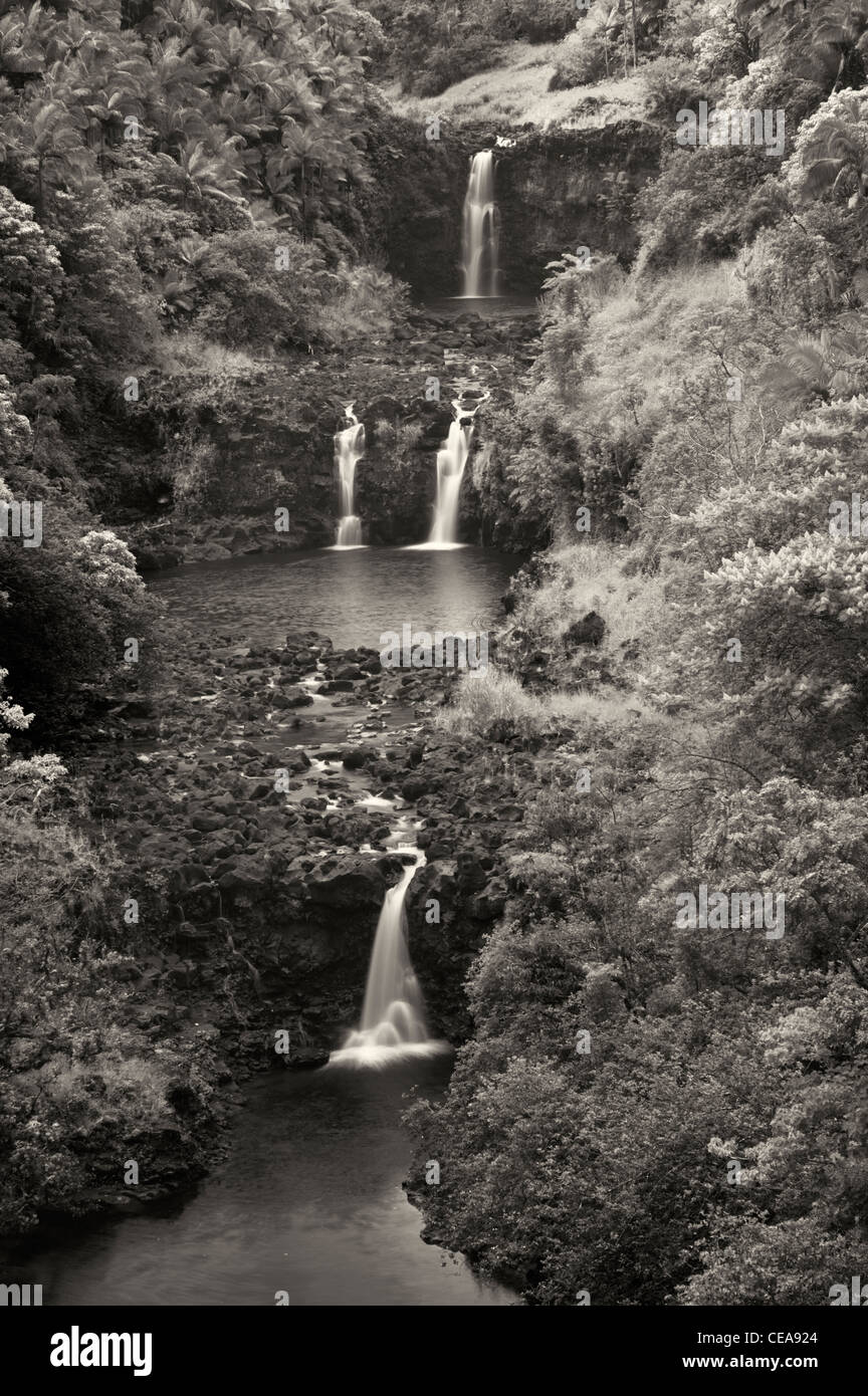 UmaUma Falls. Hawai, la Isla Grande. Foto de stock