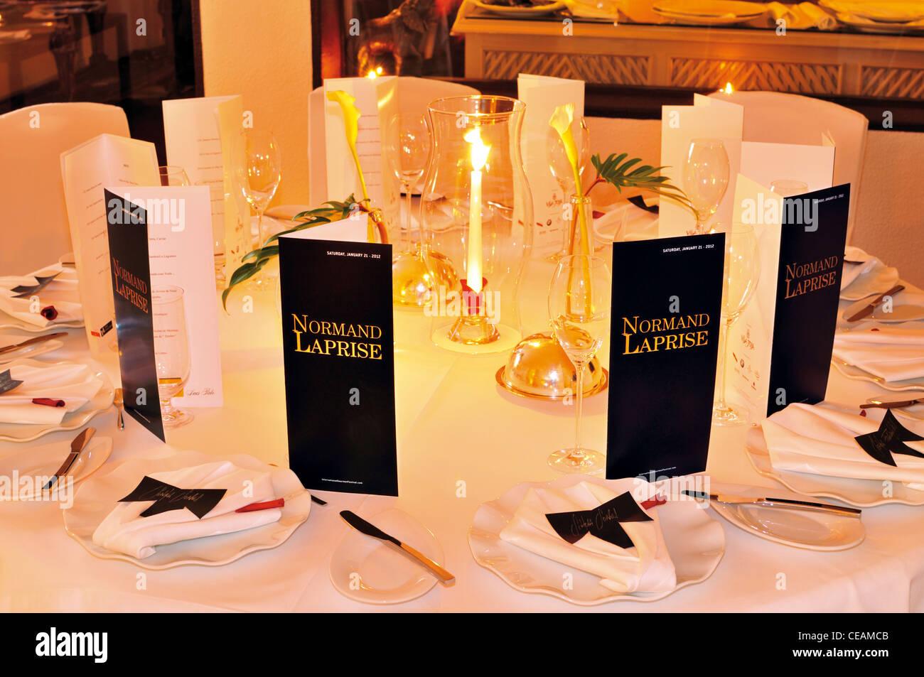 Portugal, Algarve: Cena arreglo con menú de 3-Star-Chef Normand Laprise en el Gourmet Festival 2012 en Vila Imagen De Stock