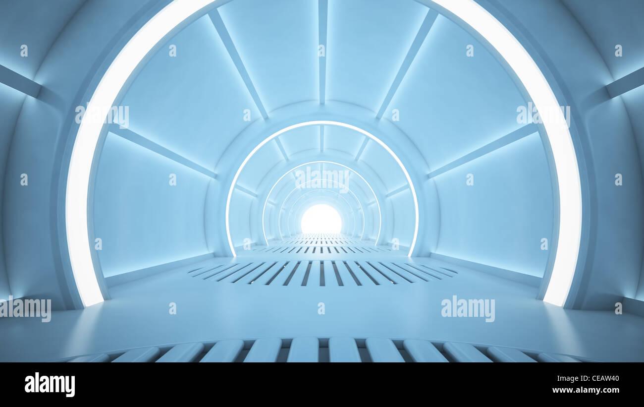Ciencia ficción representación interior - Corredor de sci-fi Foto de stock