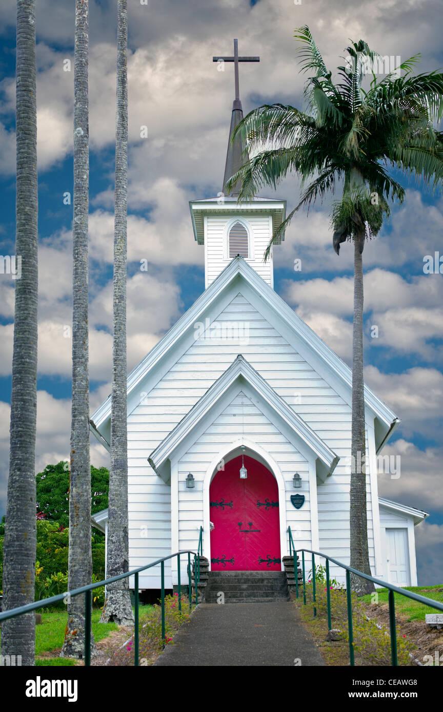 Iglesia Episcopal en Hawi. Hawai, la Isla Grande Foto de stock