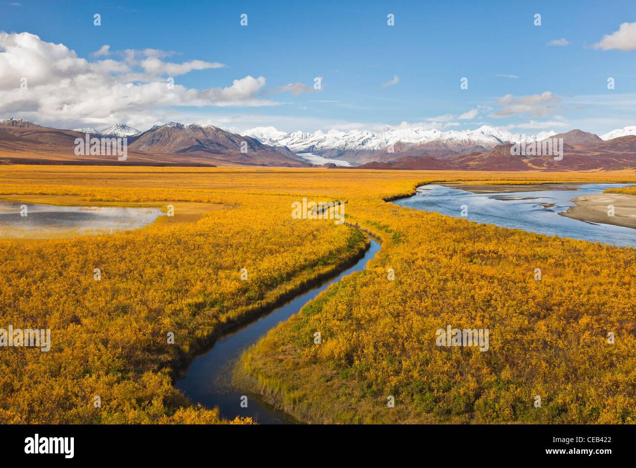 Vista panorámica del Glaciar, Maclaren Maclaren River Valley y la región oriental de Alaska Range Mountains en el otoño atrasado en el interior de Alaska. Foto de stock