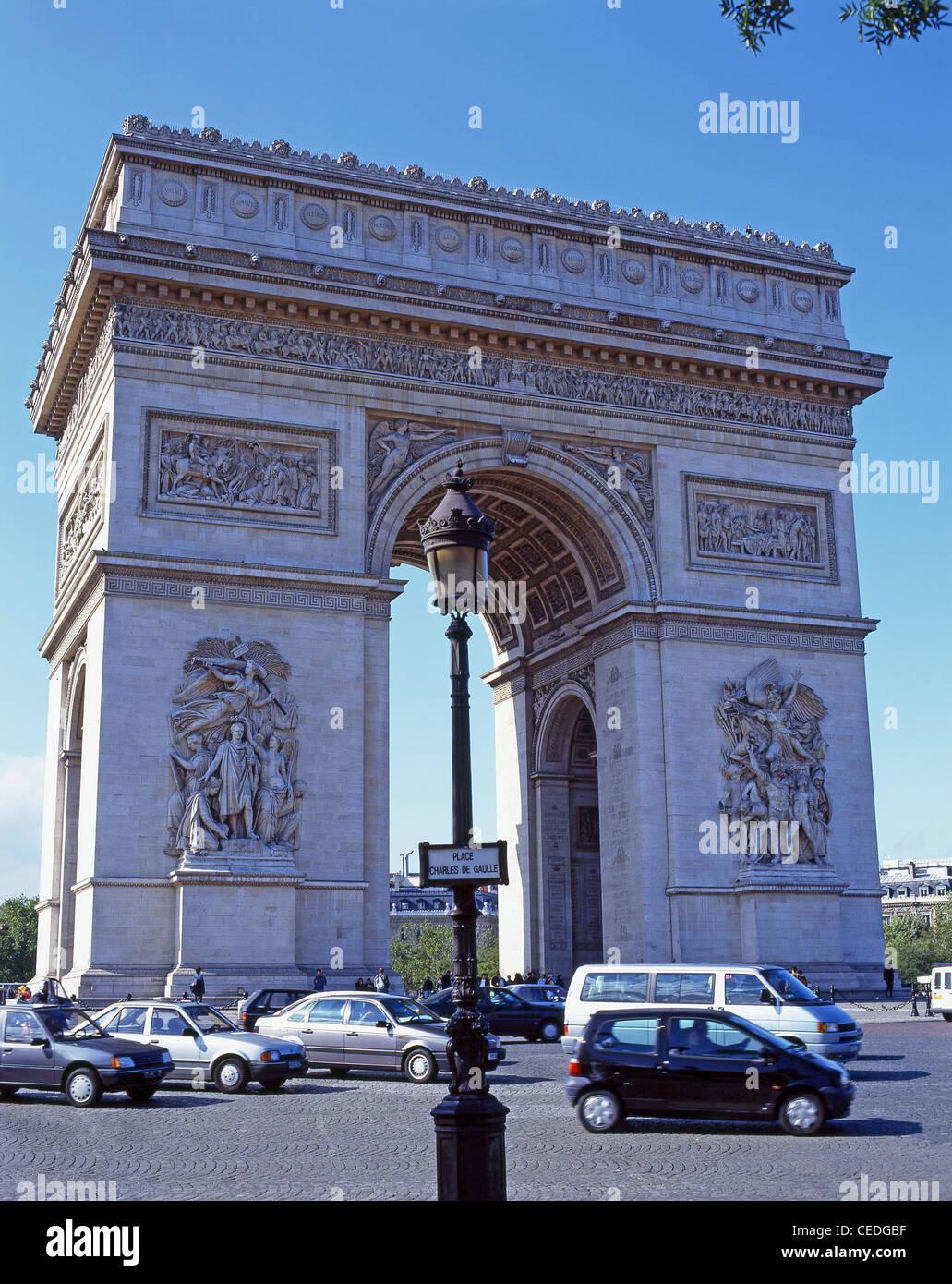 El Arc de Triomphe, Place Charles de Gaulle, París, Île-de-France, Francia Imagen De Stock