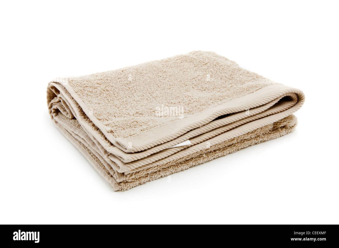 Beautifu toallas nuevas, la imagen está tomada sobre un fondo blanco. Foto de stock