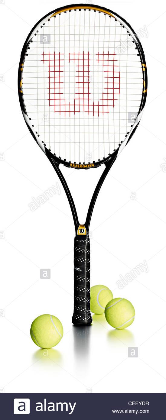 Raqueta de tenis pelotas de tenis Foto de stock