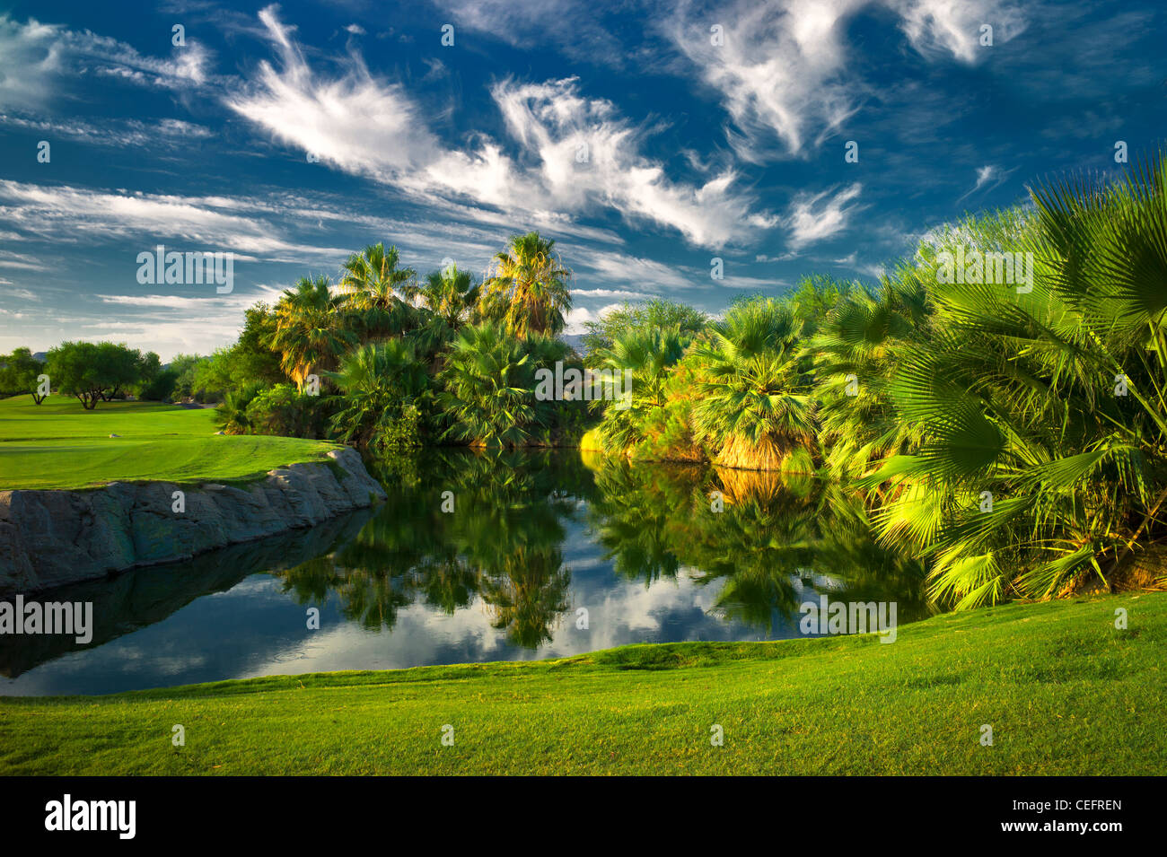 Estanque de Desert Willow Golf Resort. Palm Desert, California Imagen De Stock
