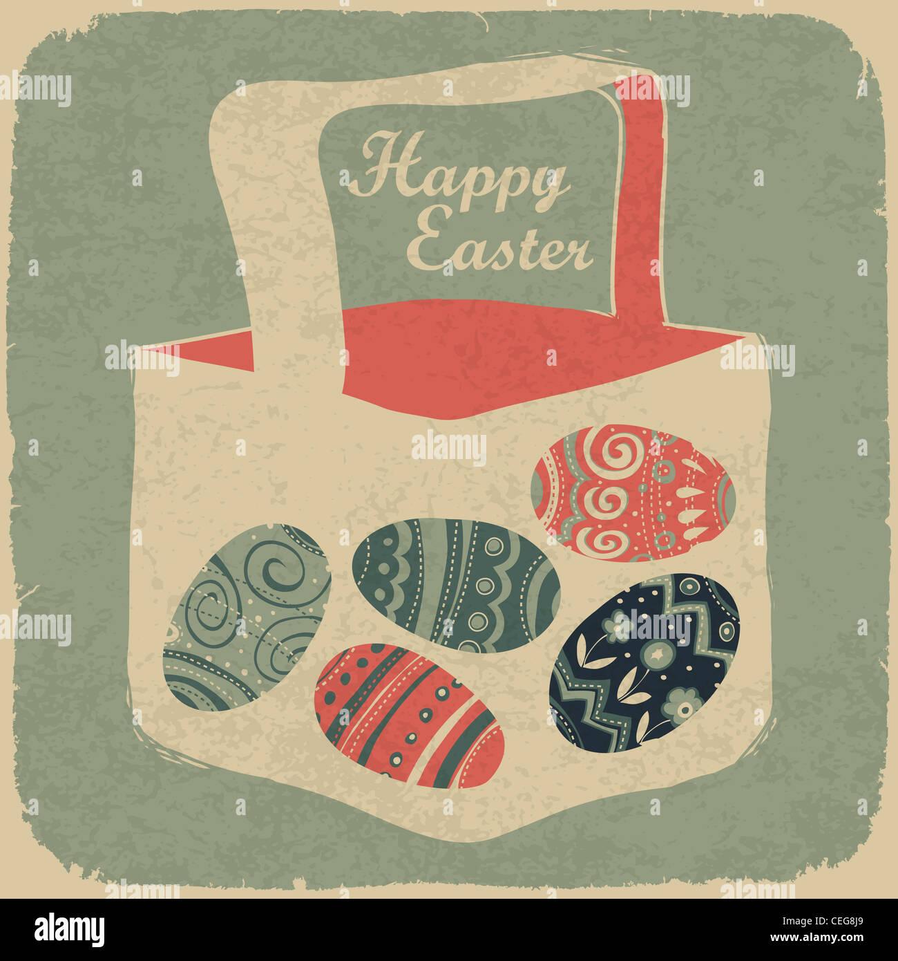 Canasta con huevos de Pascua. Estilo retro de fondo de pascua. Imagen De Stock