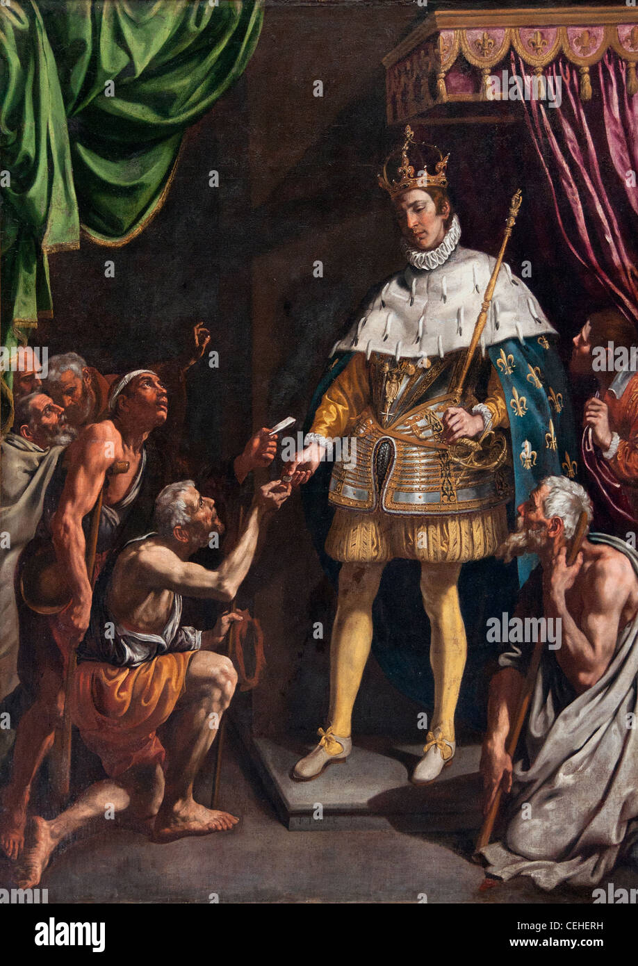 Tristan de Escamilla, Luis (1586-1624), Saint Louis roi de Francia San Luis Rey de Francia distribuyendo limosna Foto de stock