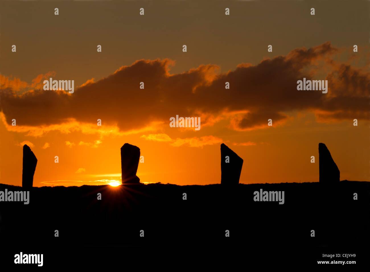 Anillo de Brodgar Standing Stones Foto de stock