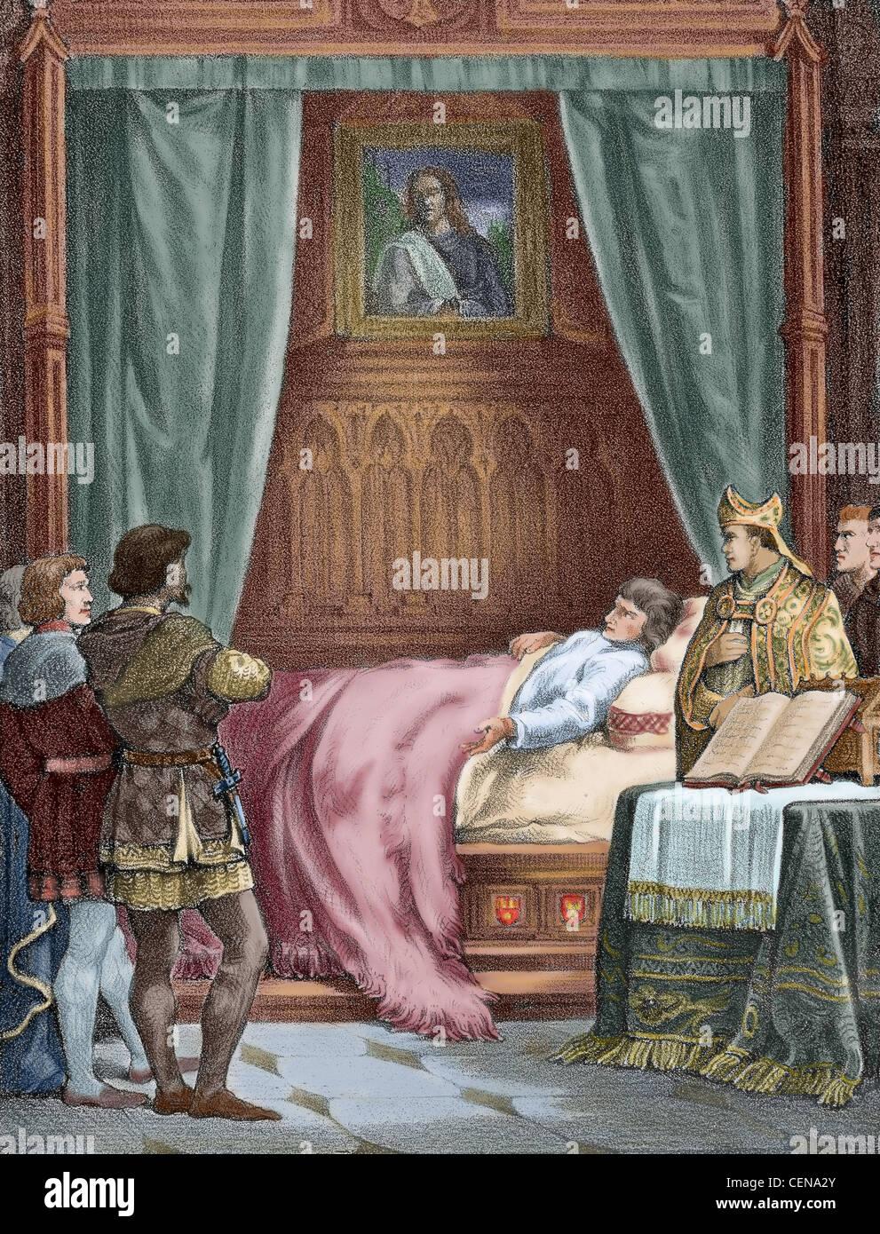 Fernando el Católico (1452-1516). La muerte de Fernando el Católico. Grabado en color. Foto de stock