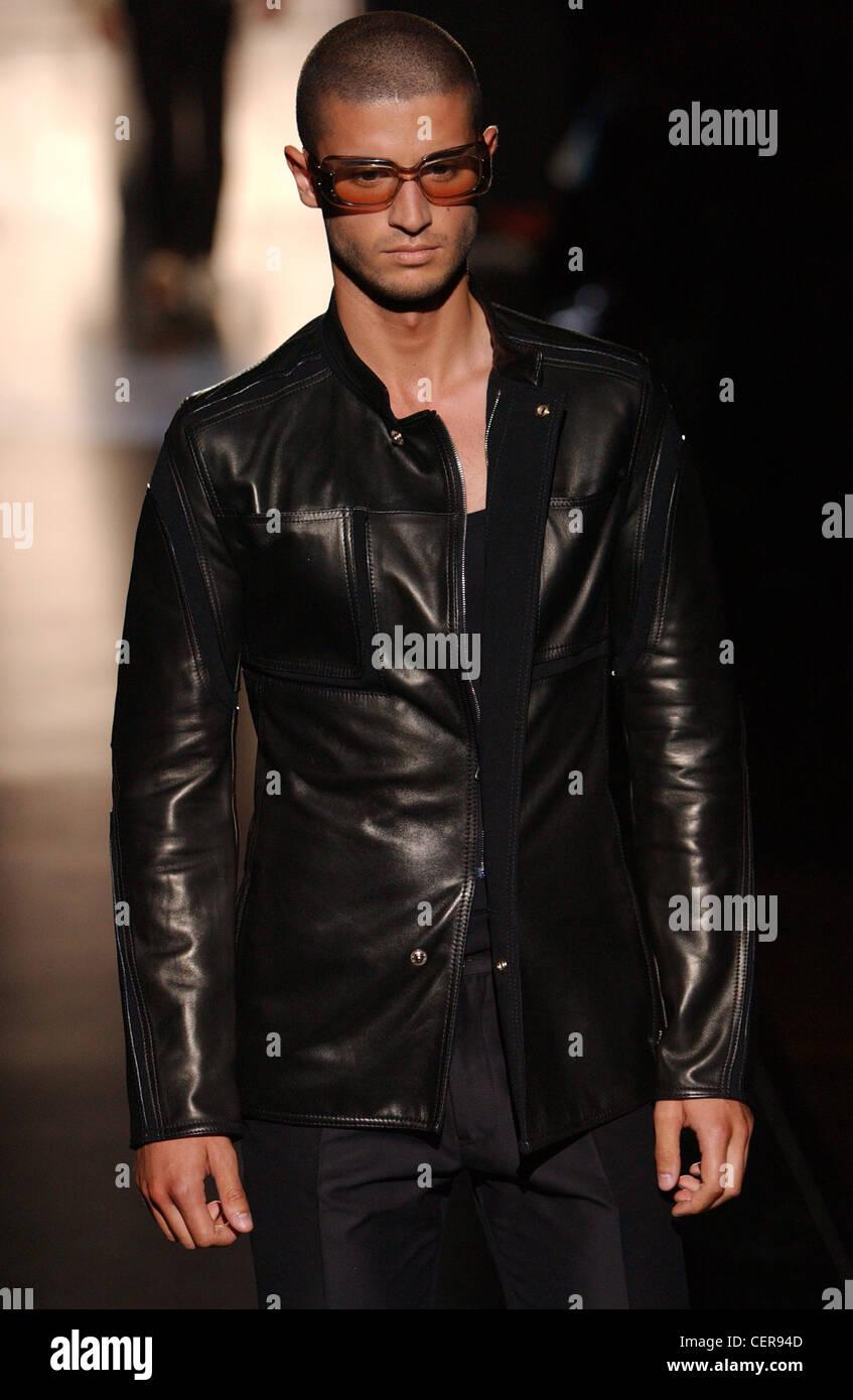 Gianfranco S de vestidos cabeza de cuero moda Milán rapada masculina negro Ferre chaqueta S hombres arWwapFq