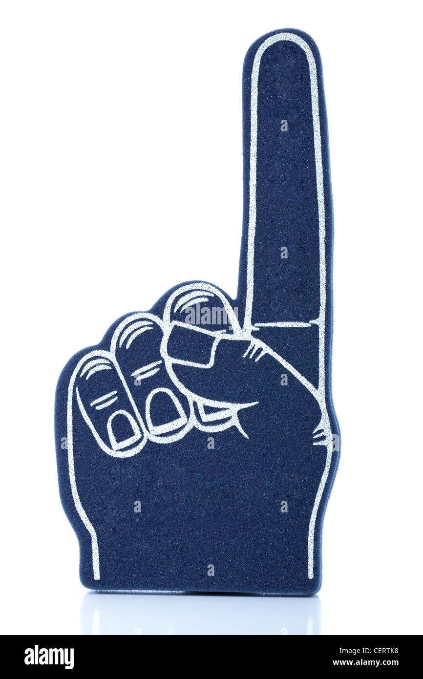 """Un dedo de espuma azul para eventos deportivos que significa """"somos el número 1! Imagen De Stock"""