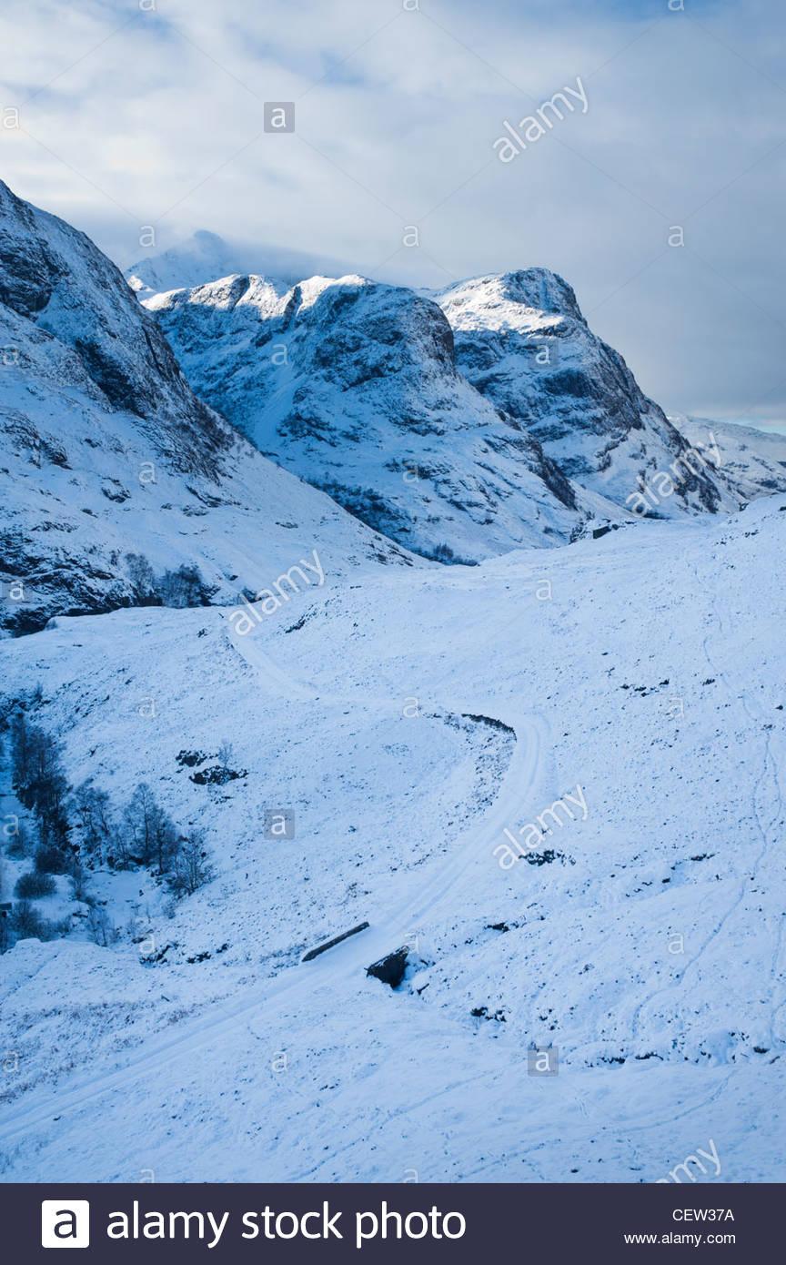 Glencoe en invierno, Lochaber, Highland, Escocia. Foto de stock