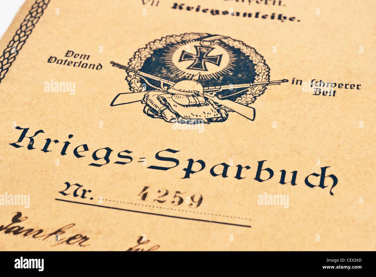 Banco guerra libro del Reich alemán desde el año 1918, Alemania, Europa Foto de stock
