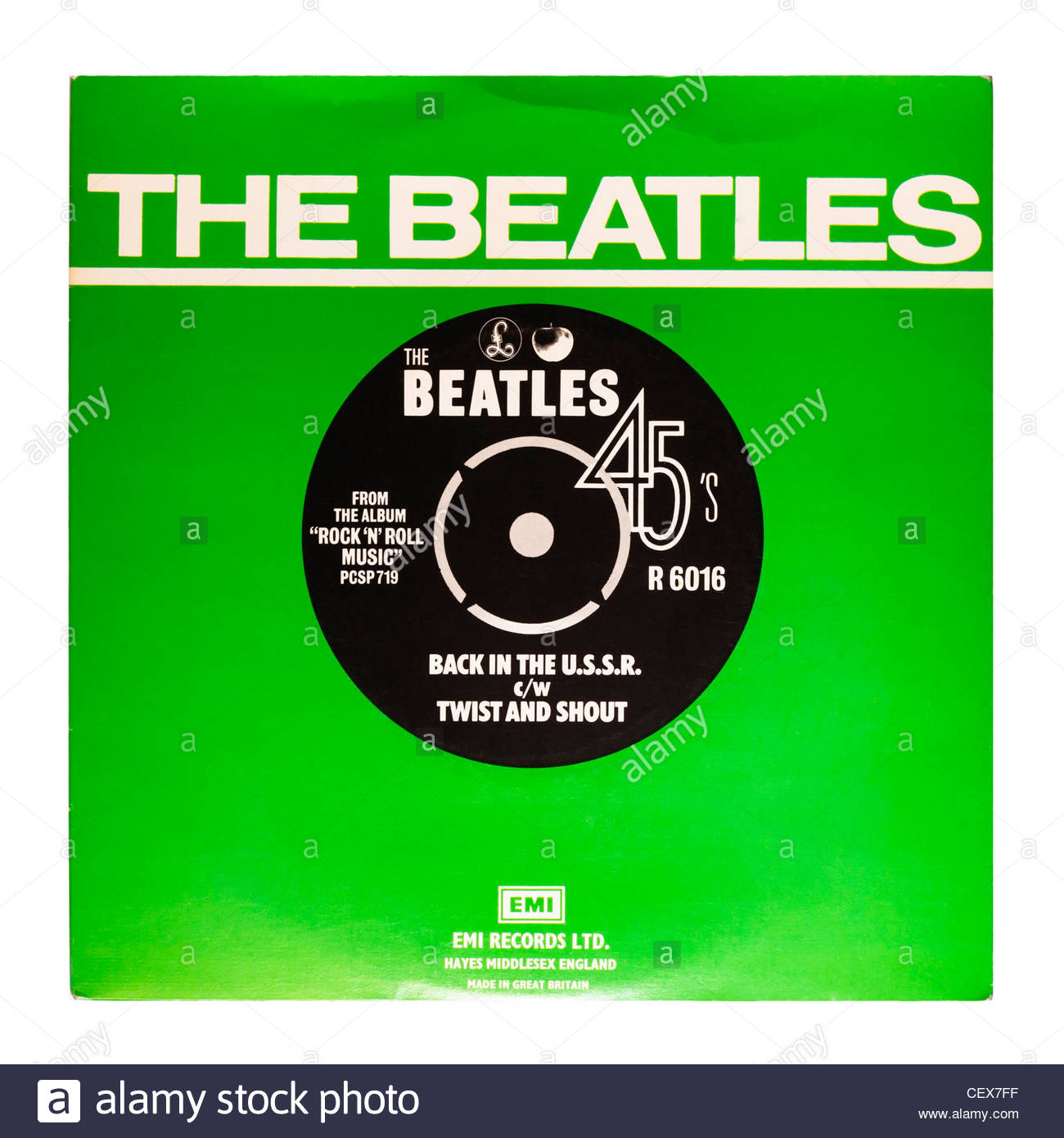 Un disco de vinilo , The Beatles , de vuelta en la URSS y girar y gritar sobre un fondo blanco. Foto de stock