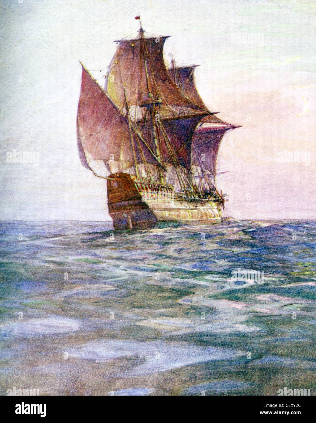 El Mayflower llevaron el inglés disidentes (peregrinos) a Massachusetts en 1620. Pintado por el historiador naval Foto de stock