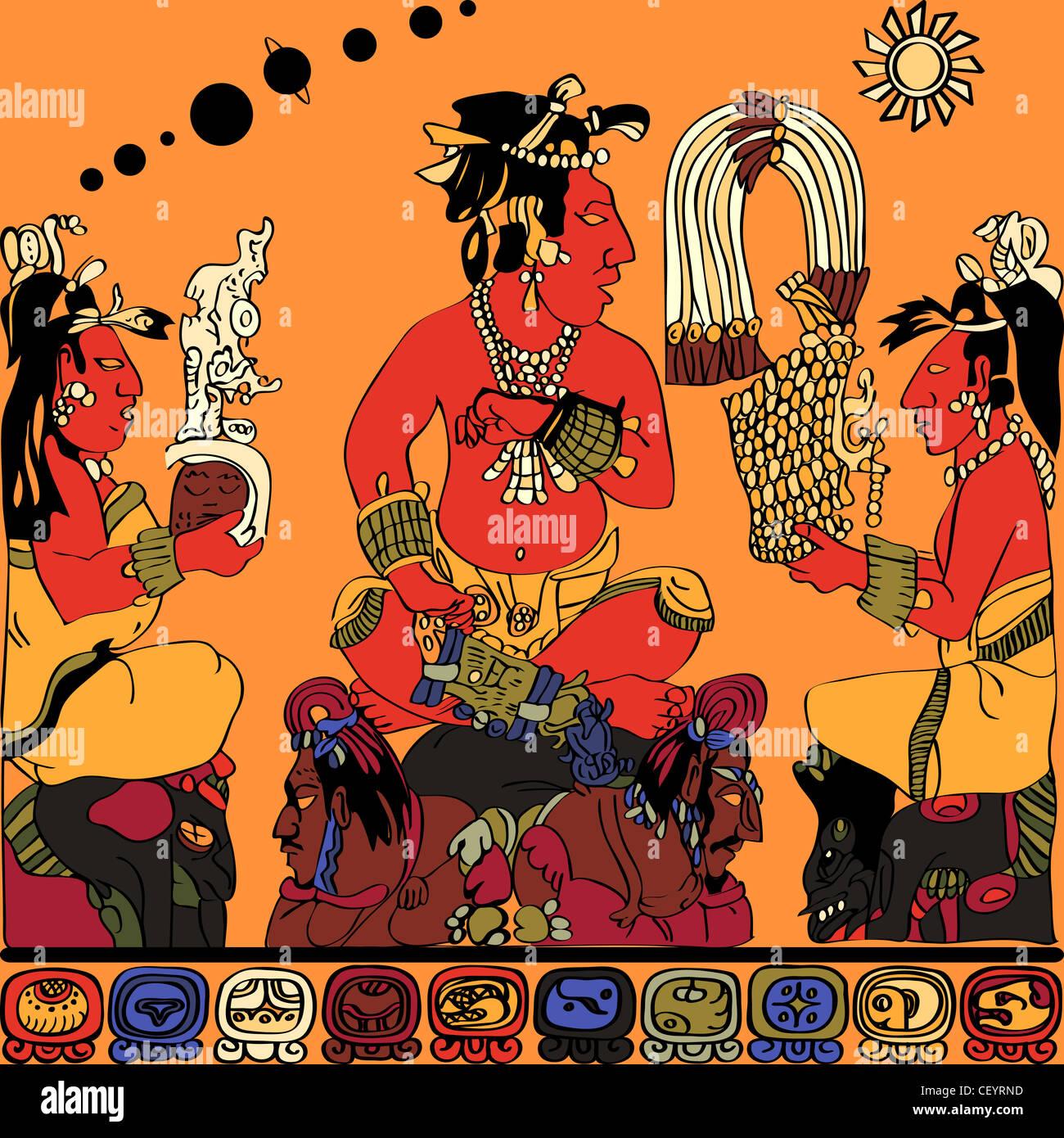 Desde El Panel De Dibujo De Los Dioses En Palenque El Esquema De
