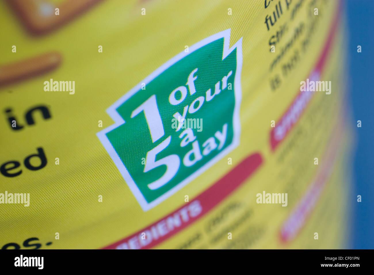 Directrices para la dieta diaria reino unido uno de sus cinco al día 1 de sus 5 Un día, nutrición Imagen De Stock