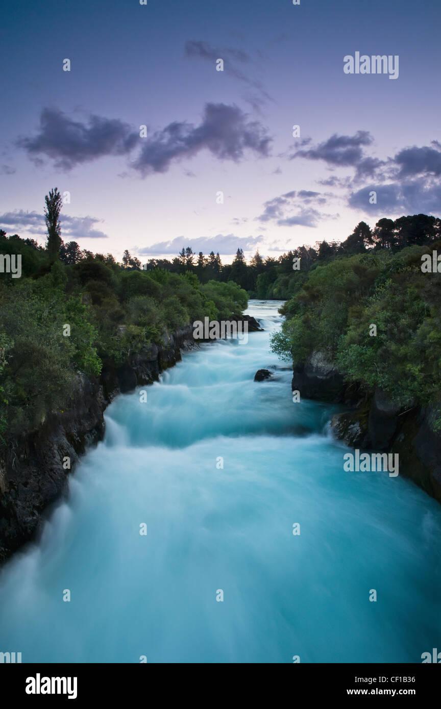 Árboles que bordean un río al anochecer; Nueva Zelandia Foto de stock