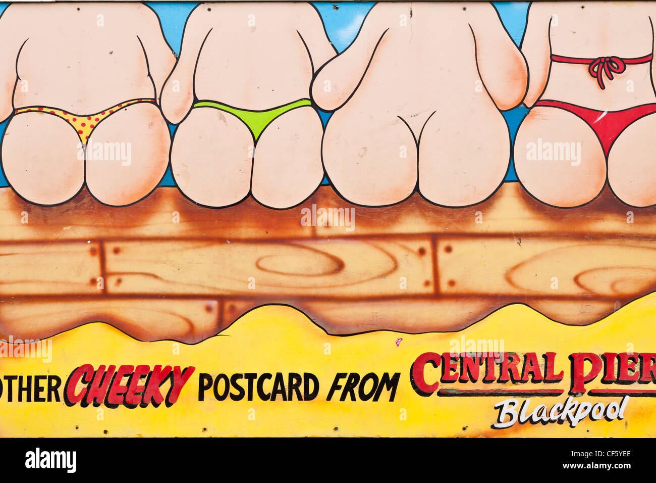 Blackpool Central Pier impertinente postal firmar. Imagen De Stock